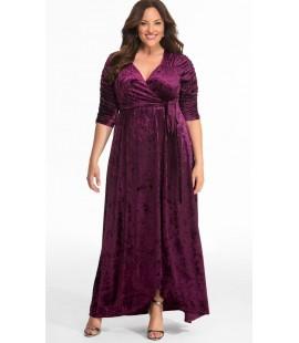 Kiyonna Cara Velvet Wrap Dress Purple Size 4 (26/28)