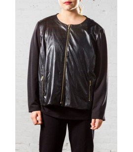 JNY FAUX LEATHER BASEBALL JACKET SIZE 3X