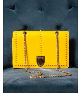 SUSU YELLOW LEATHER BAG WITH GOLD CHAIN