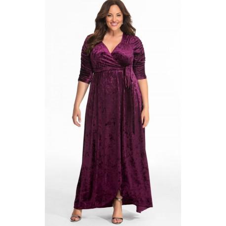 120b99a5e97d3 Kiyonna Cara Velvet Wrap Dress Purple Size 4 (26 28) - StyleForIt