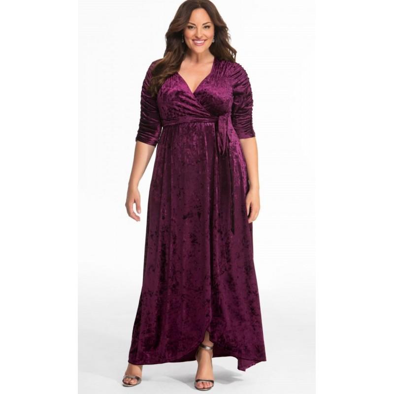 7b5059a95ec Kiyonna Cara Velvet Wrap Dress Purple Size 4 (26 28) - StyleForIt