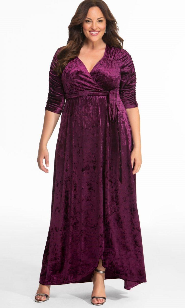 3232e1e33b1 Kiyonna Cara Velvet Wrap Dress Purple Size 4 (26 28) - StyleForIt