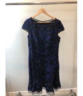 TADASHI NAVY BURNOUT COCKTAIL DRESS SIZE 16