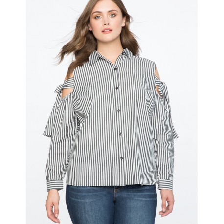 Eloqui Striped Cold Shoulder Button Up Top